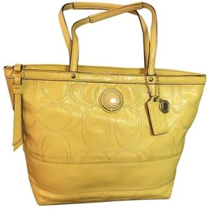 COACH Stitch Signature Yellow Patent Leather Tote
